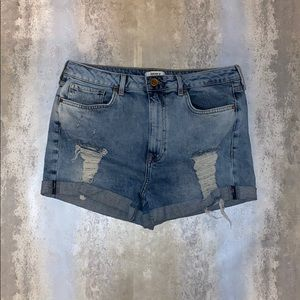 Forever 21 Light-wash Distressed Jean Shorts